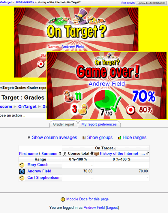 On Target? SCORM usage